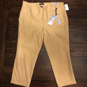 NWT 18 Plus Blue Spice Khaki Cropped Canvas Pants